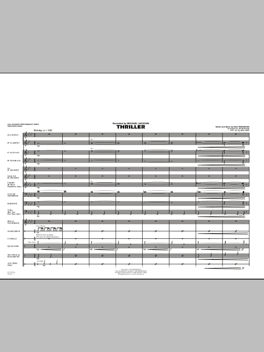 Jay Bocook Thriller - Full Score sheet music preview music notes and score for Marching Band including 10 page(s)
