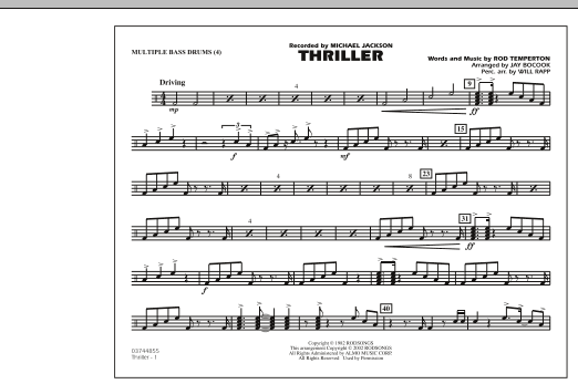 Jay Bocook Thriller - Multiple Bass Drums sheet music preview music notes and score for Marching Band including 1 page(s)