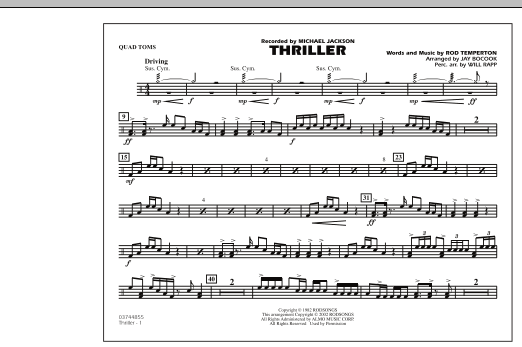 Jay Bocook Thriller - Quad Toms sheet music preview music notes and score for Marching Band including 1 page(s)