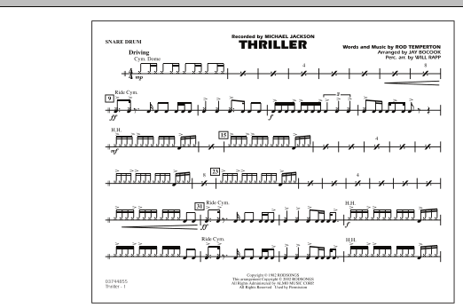 Jay Bocook Thriller - Snare Drum sheet music preview music notes and score for Marching Band including 1 page(s)
