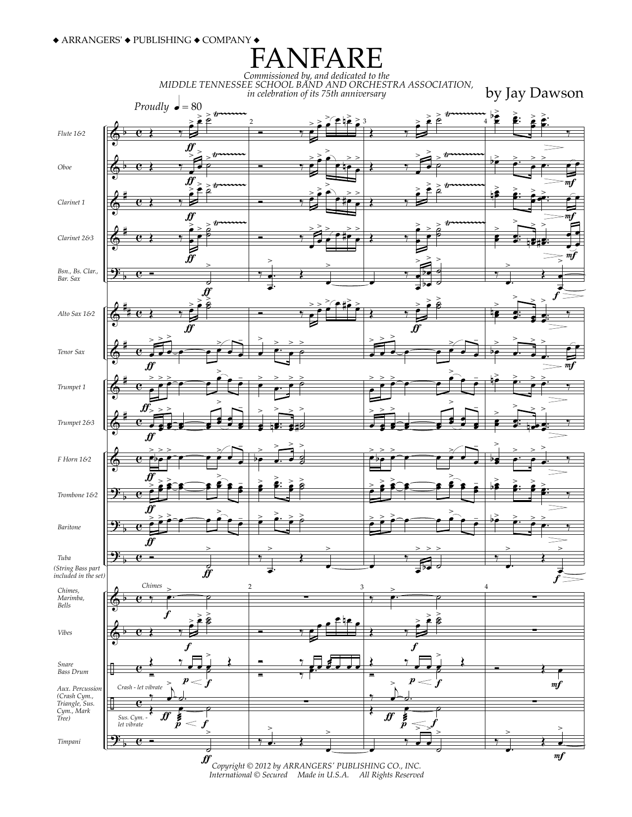 Jay Dawson Fanfare - Full Score sheet music preview music notes and score for Concert Band including 12 page(s)
