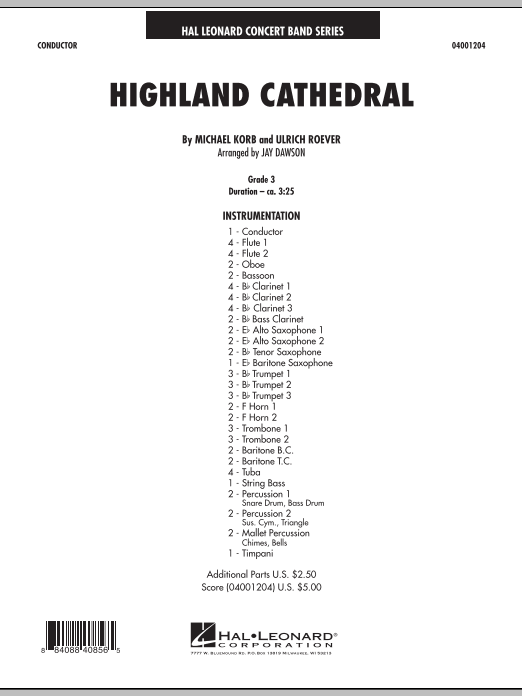 Download Jay Dawson 'Highland Cathedral - Conductor Score (Full Score)' Digital Sheet Music Notes & Chords and start playing in minutes
