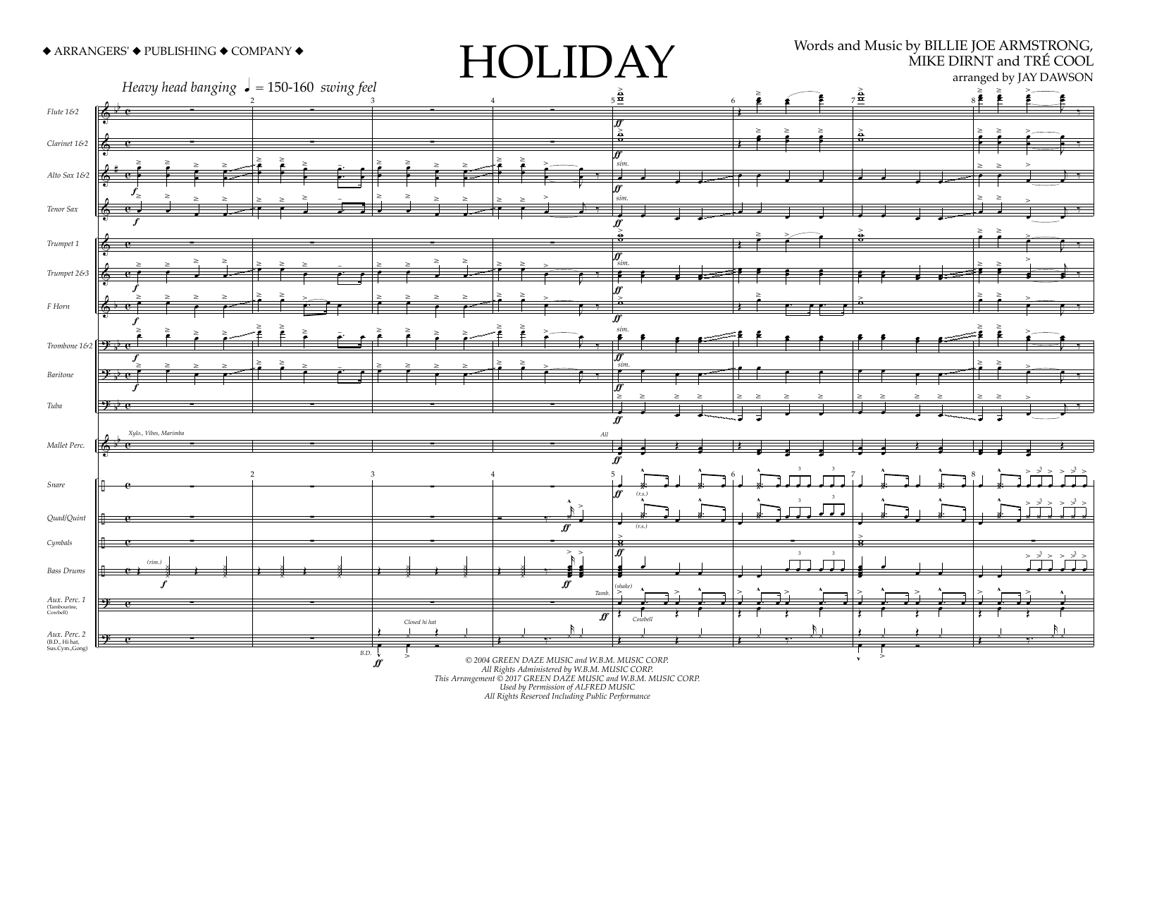 Jay Dawson Holiday - Full Score sheet music preview music notes and score for Marching Band including 8 page(s)