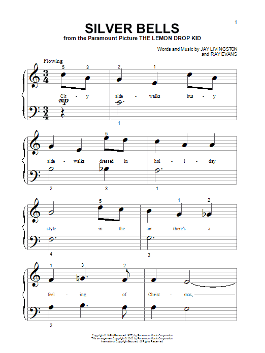 Jay Livingston Silver Bells sheet music preview music notes and score for Piano (Big Notes) including 4 page(s)