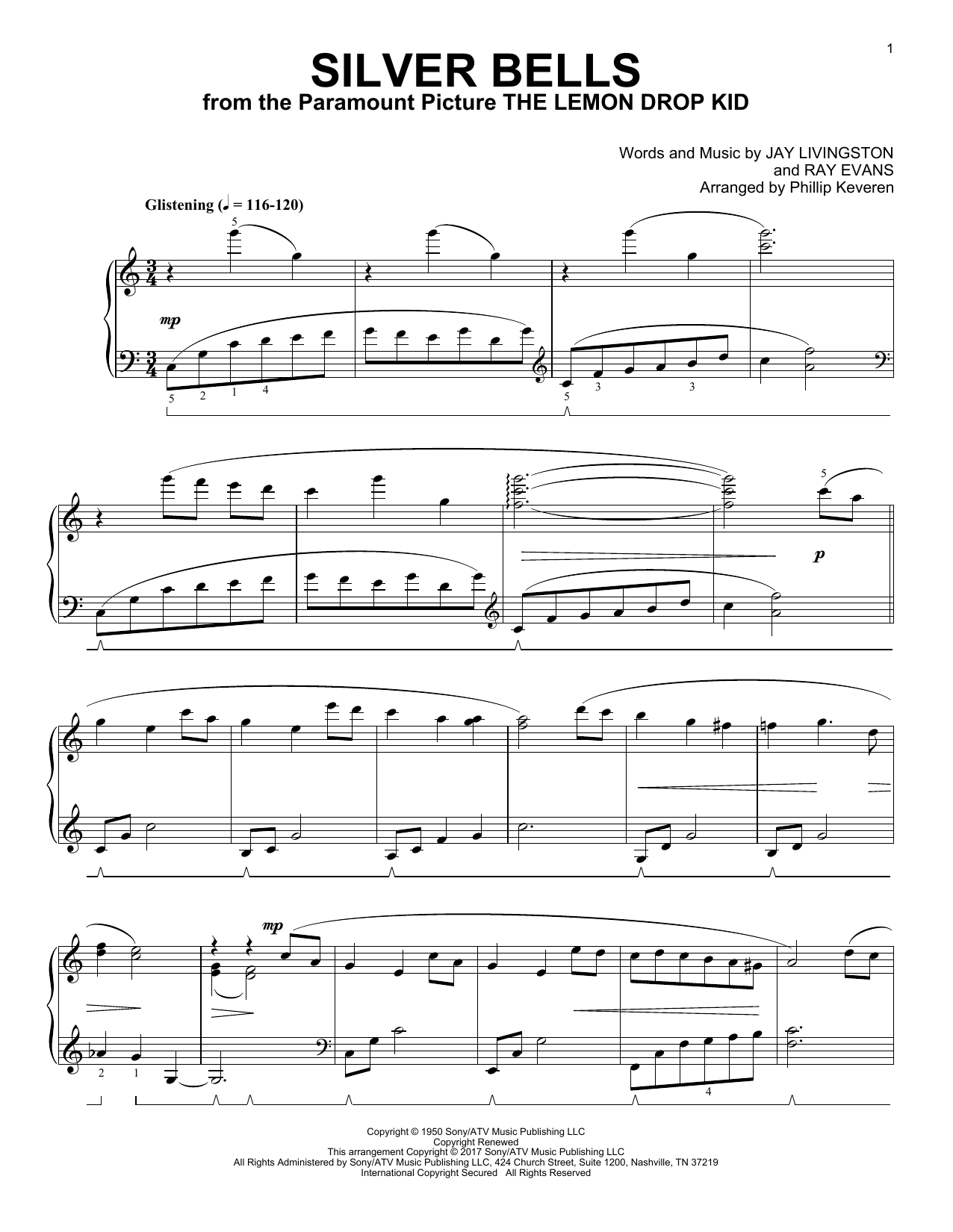 Download Phillip Keveren 'Silver Bells' Digital Sheet Music Notes & Chords and start playing in minutes
