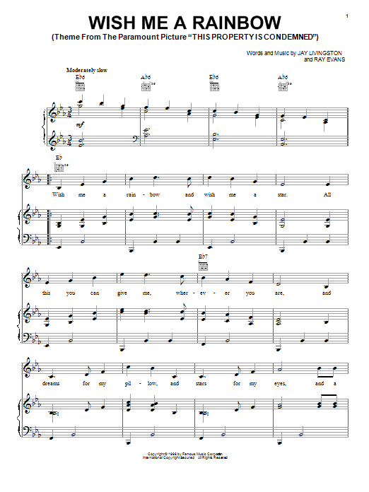 Jay Livingston Wish Me A Rainbow sheet music notes and chords