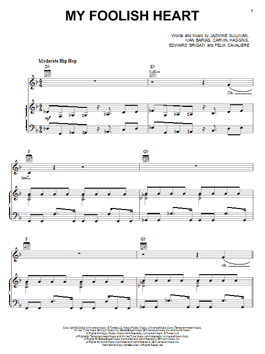Jazmine Sullivan My Foolish Heart sheet music preview music notes and score for Piano, Vocal & Guitar (Right-Hand Melody) including 6 page(s)