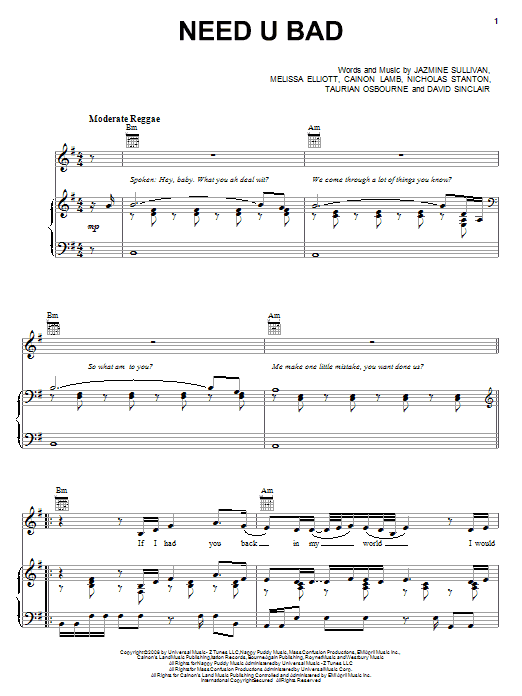 Jazmine Sullivan Need U Bad sheet music preview music notes and score for Piano, Vocal & Guitar (Right-Hand Melody) including 6 page(s)