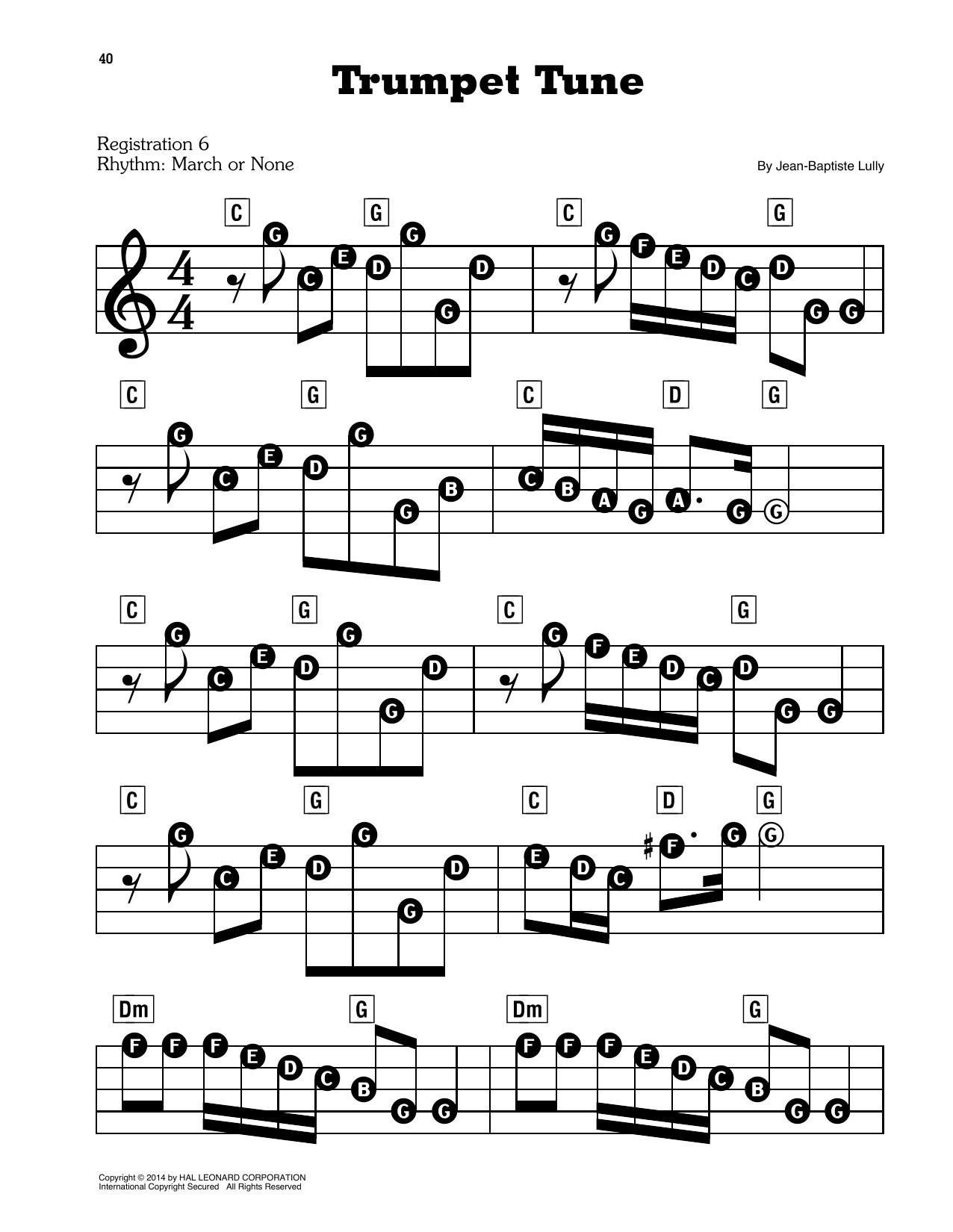 Jean-Baptiste Lully Trumpet Tune sheet music preview music notes and score for E-Z Play Today including 2 page(s)