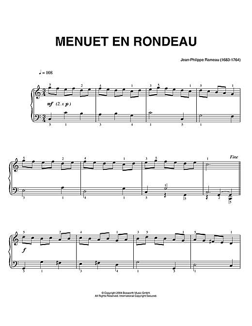 Download Jean-Philippe Rameau 'Menuet En Rondeau' Digital Sheet Music Notes & Chords and start playing in minutes
