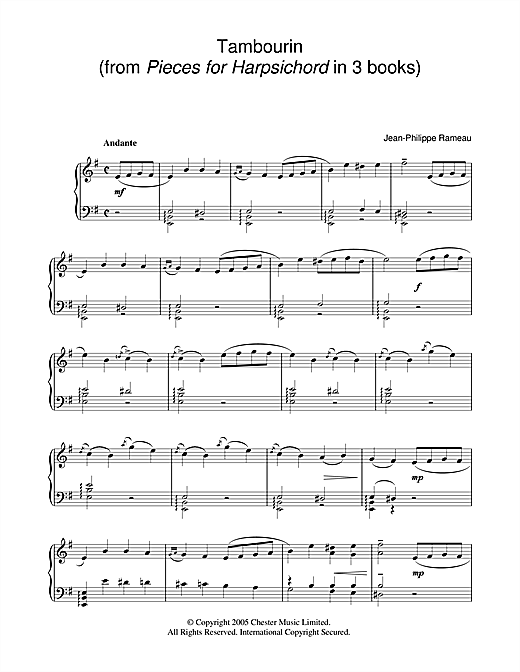 Download Jean Philippe Rameau 'Tambourin' Digital Sheet Music Notes & Chords and start playing in minutes