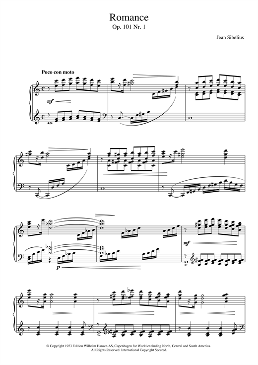 Download Jean Sibelius '5 Morceaux Romantiques, Op.101 - I. Romance' Digital Sheet Music Notes & Chords and start playing in minutes