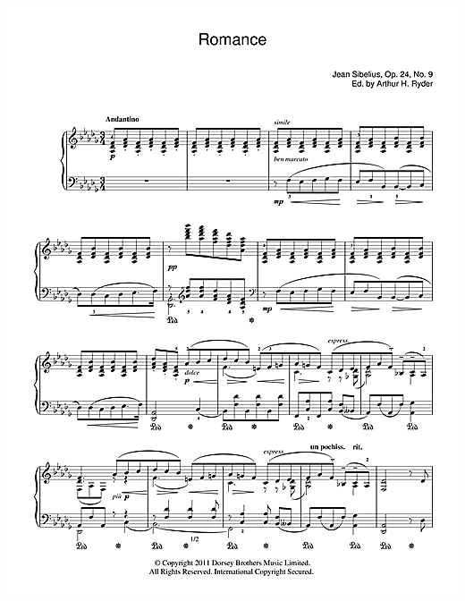 Jean Sibelius Romance In D Flat sheet music notes and chords