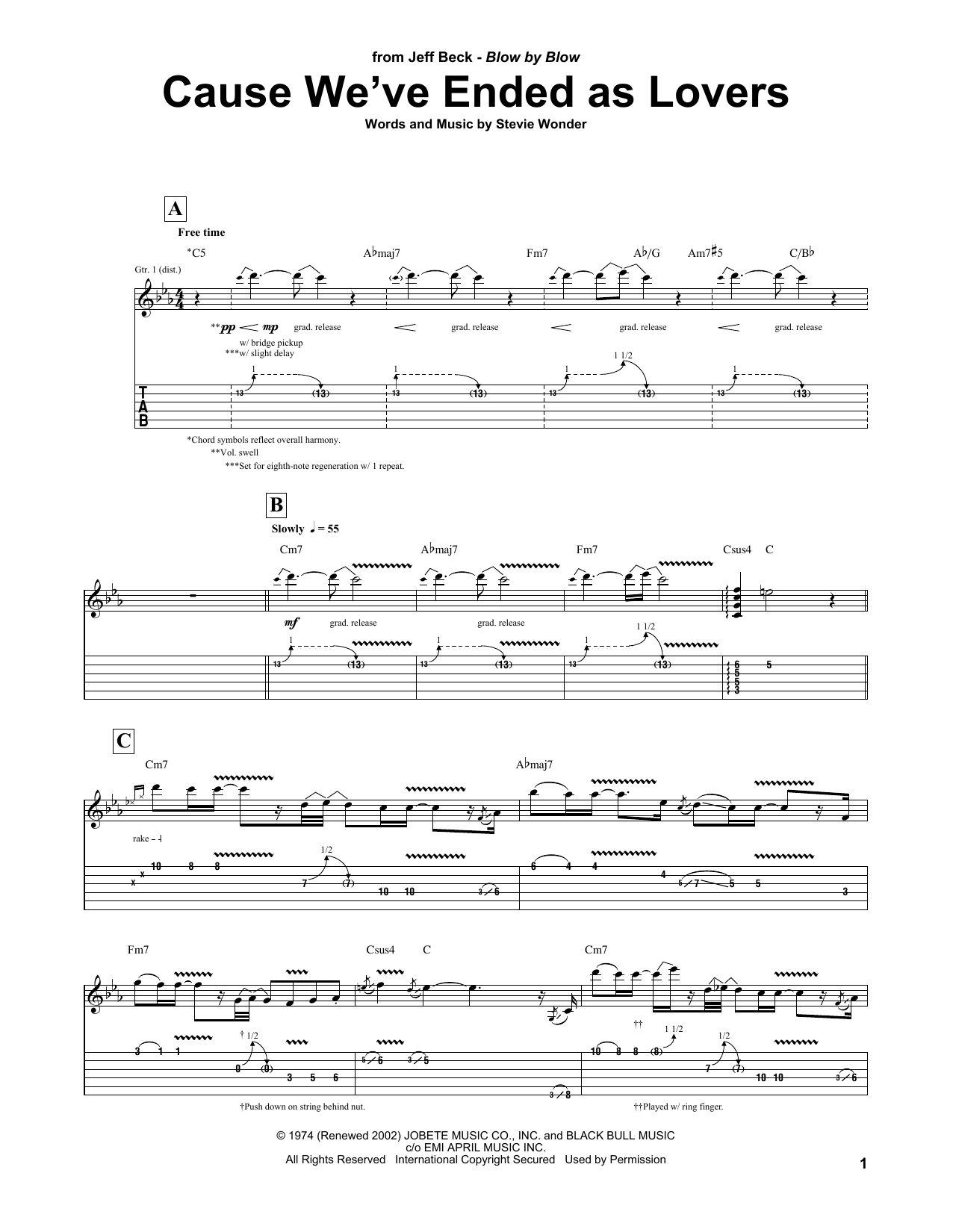 Download Jeff Beck 'Cause We've Ended As Lovers' Digital Sheet Music Notes & Chords and start playing in minutes