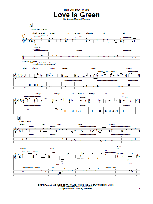 Jeff Beck Love Is Green sheet music preview music notes and score for Guitar Tab including 3 page(s)