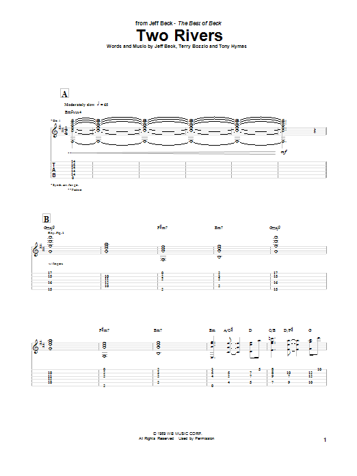 Jeff Beck Two Rivers sheet music preview music notes and score for Guitar Tab including 6 page(s)