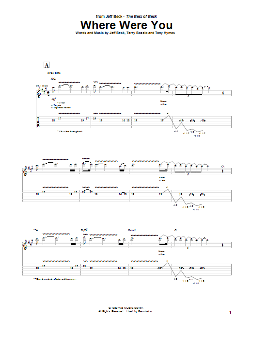 Jeff Beck Where Were You sheet music preview music notes and score for Guitar Tab including 3 page(s)
