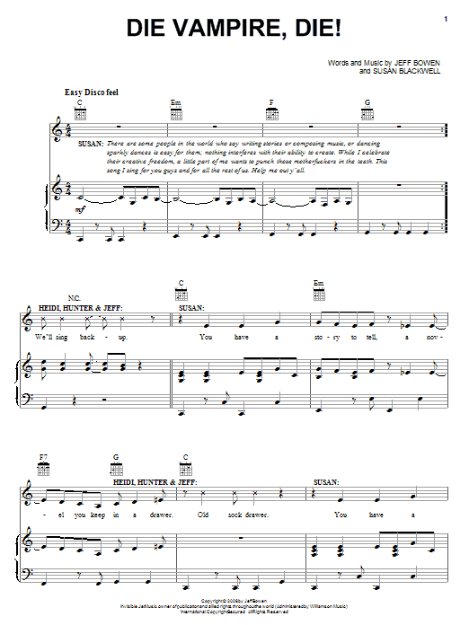 Jeff Bowen Die Vampire, Die! sheet music preview music notes and score for Piano, Vocal & Guitar (Right-Hand Melody) including 13 page(s)