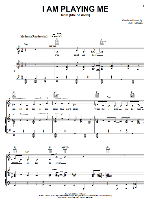 Jeff Bowen I Am Playing Me sheet music preview music notes and score for Piano, Vocal & Guitar (Right-Hand Melody) including 5 page(s)