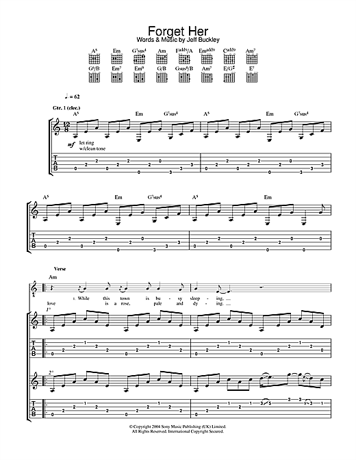 Jeff Buckley Forget Her sheet music notes and chords