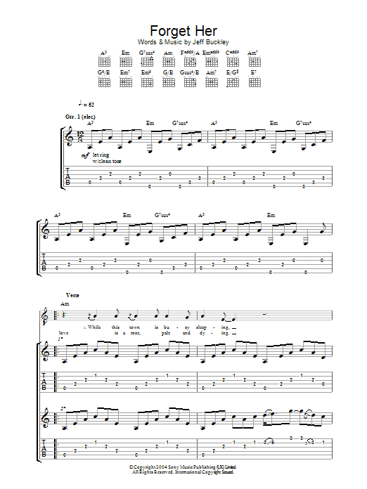 Jeff Buckley Forget Her sheet music preview music notes and score for Guitar Tab including 10 page(s)