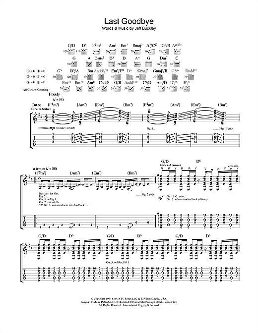 Jeff Buckley Last Goodbye sheet music notes and chords