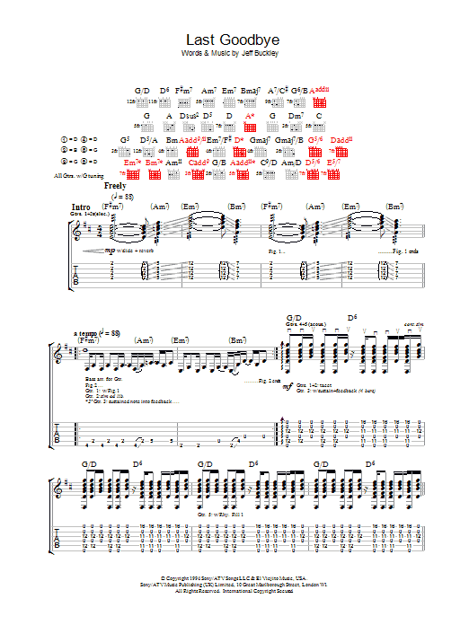 Jeff Buckley Last Goodbye sheet music preview music notes and score for Piano, Vocal & Guitar (Right-Hand Melody) including 9 page(s)