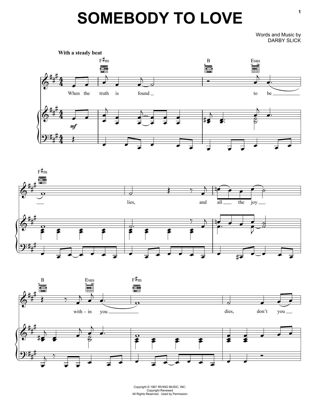 Jefferson Airplane Somebody To Love sheet music notes and chords