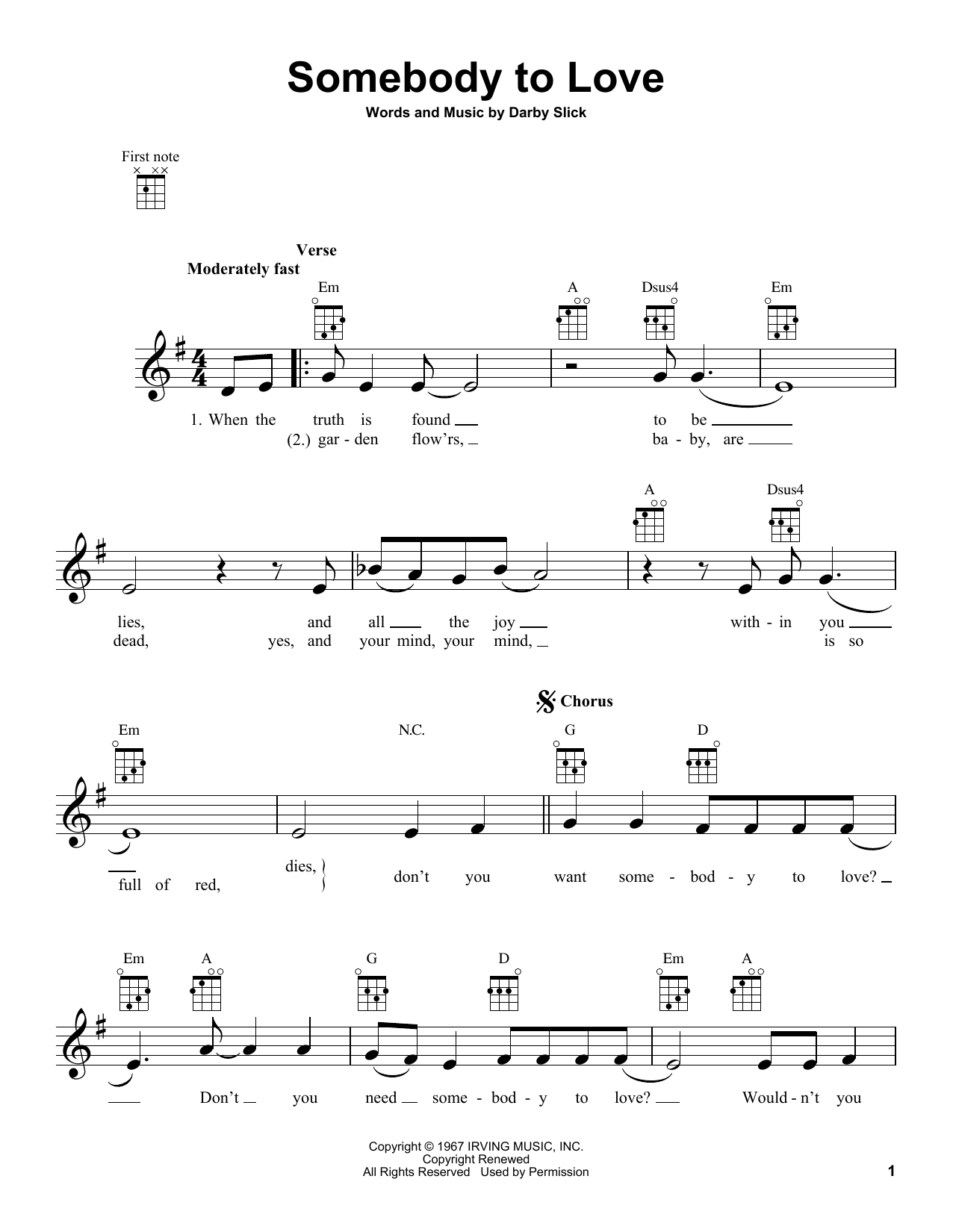 Jefferson Airplane Somebody To Love sheet music preview music notes and score for Easy Guitar including 3 page(s)
