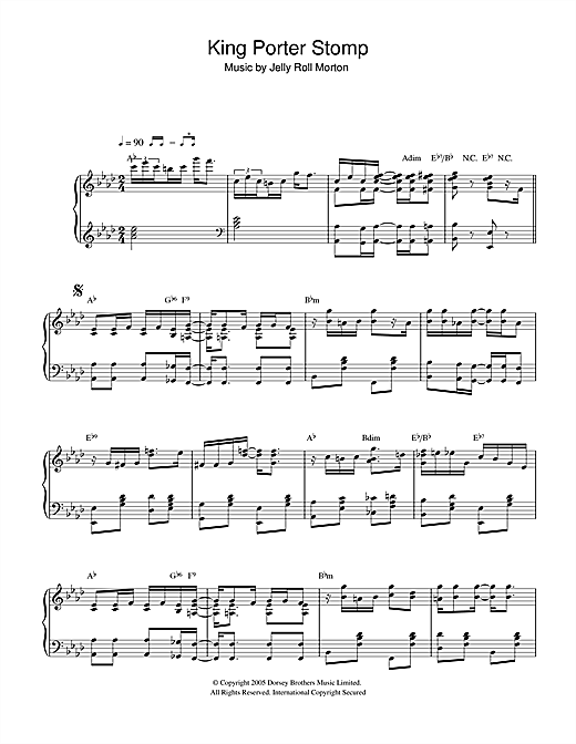 Download Jelly Roll Morton 'King Porter Stomp' Digital Sheet Music Notes & Chords and start playing in minutes