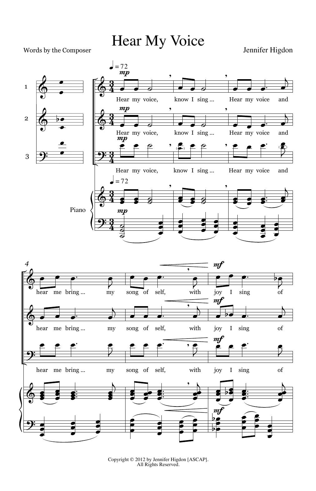 Jennifer Higdon Hear My Voice sheet music preview music notes and score for 3-Part Mixed Choir including 12 page(s)