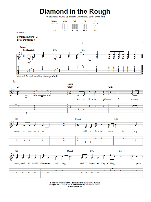 Jennifer Knapp Diamond In The Rough sheet music preview music notes and score for Easy Guitar Tab including 5 page(s)