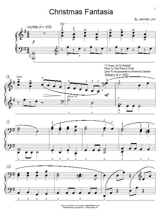 Download Jennifer Linn 'Christmas Fantasia' Digital Sheet Music Notes & Chords and start playing in minutes