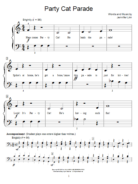 Jennifer Linn Party Cat Parade sheet music preview music notes and score for Easy Piano including 3 page(s)