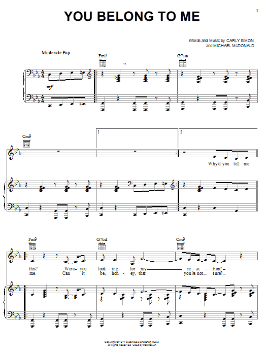 Jennifer Lopez You Belong To Me sheet music notes and chords