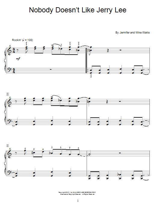 Download Jennifer Watts 'Nobody Doesn't Like Jerry Lee' Digital Sheet Music Notes & Chords and start playing in minutes