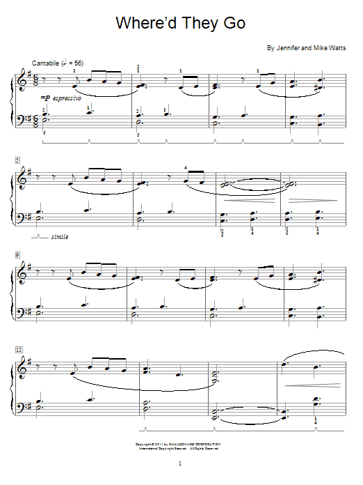 Download Jennifer Watts 'Where'd They Go' Digital Sheet Music Notes & Chords and start playing in minutes
