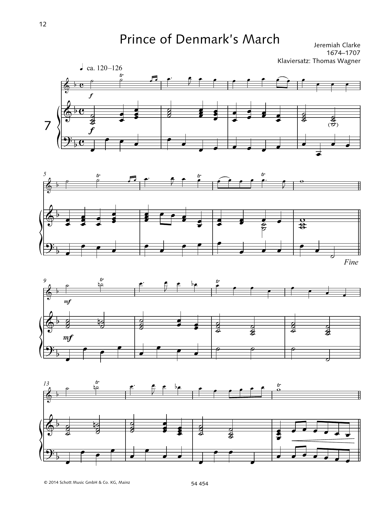 Jeremiah Clarke Prince of Denmark's March sheet music preview music notes and score for Woodwind Solo including 3 page(s)