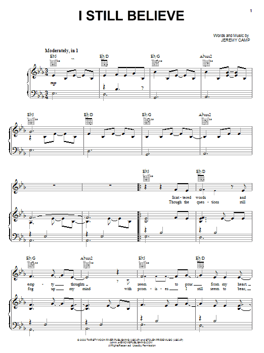 Jeremy Camp I Still Believe sheet music notes and chords