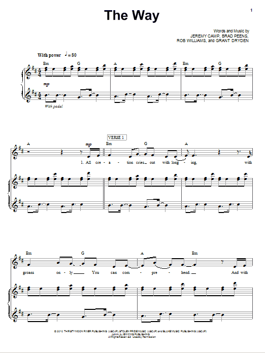 Jeremy Camp The Way sheet music notes and chords