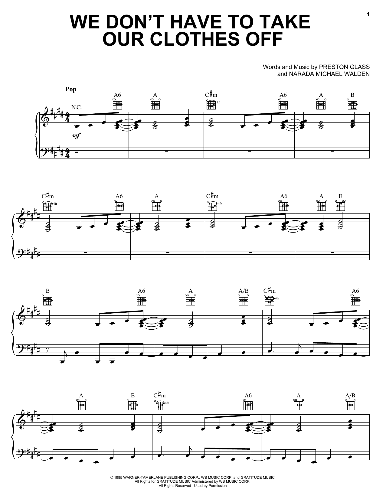 Jermaine Stewart We Don't Have To Take Our Clothes Off sheet music preview music notes and score for Piano, Vocal & Guitar (Right-Hand Melody) including 6 page(s)