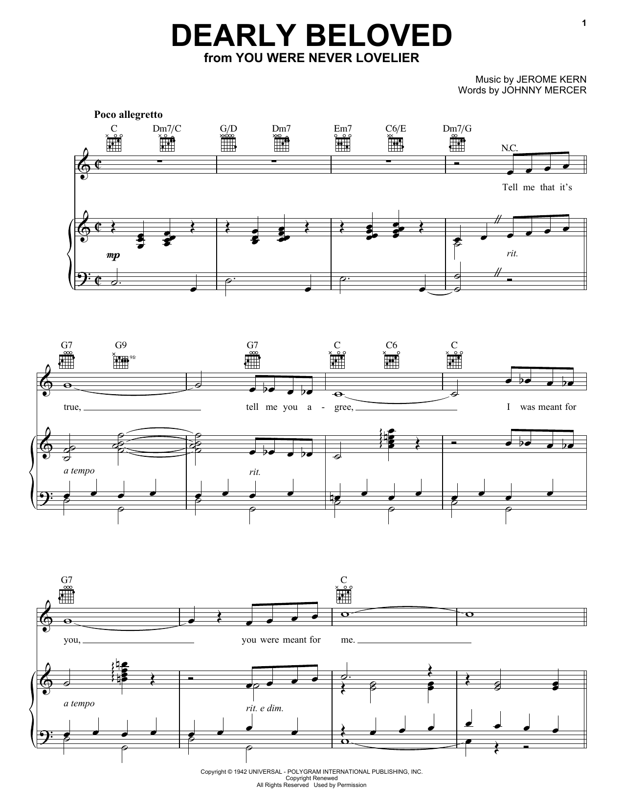 Jerome Kern Dearly Beloved sheet music preview music notes and score for E-Z Play Today including 2 page(s)
