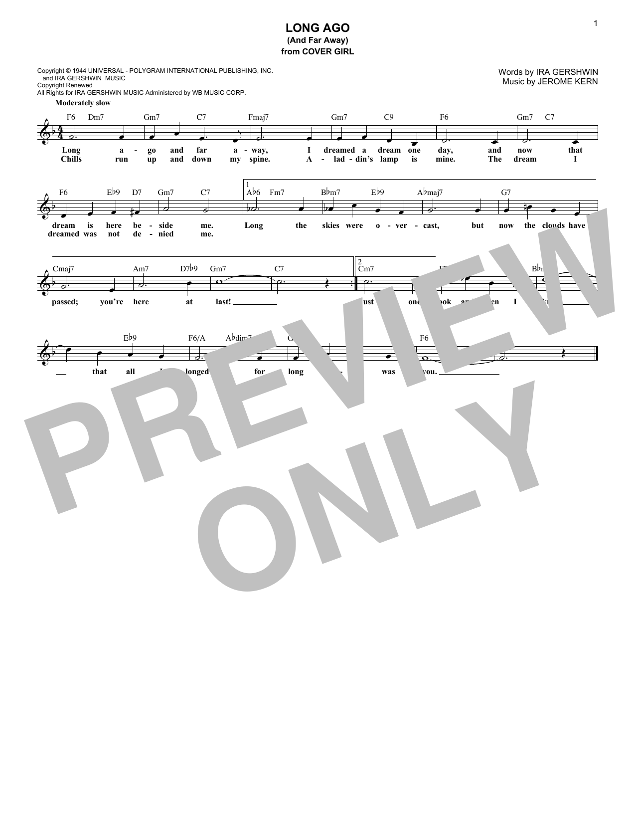 Jerome Kern Long Ago (And Far Away) sheet music preview music notes and score for Piano, Vocal & Guitar (Right-Hand Melody) including 3 page(s)