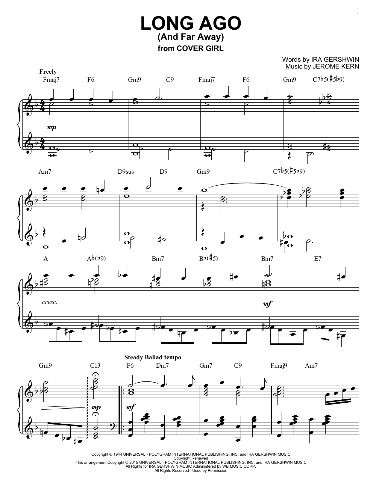 Download Jerome Kern 'Long Ago (And Far Away)' Digital Sheet Music Notes & Chords and start playing in minutes