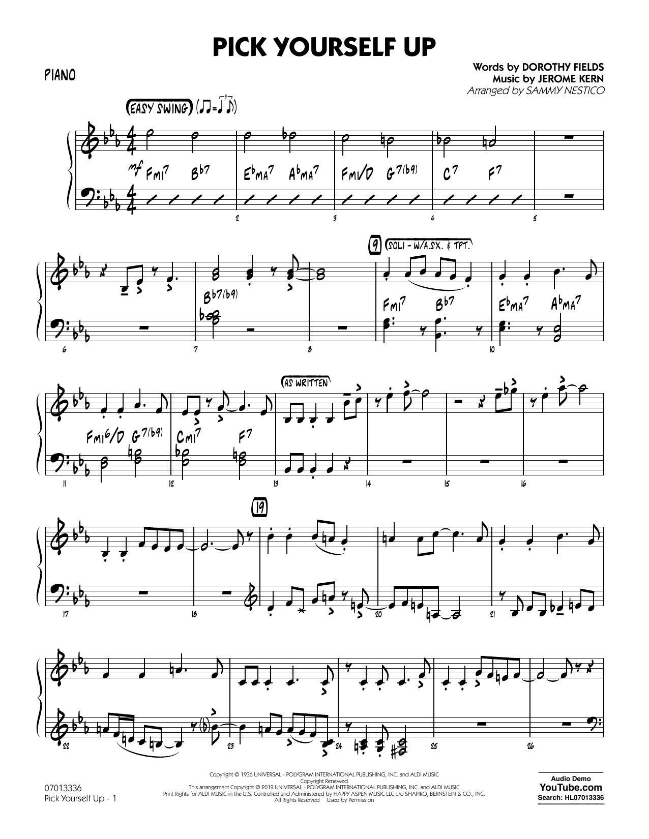Jerome Kern Pick Yourself Up (arr. Sammy Nestico) - Piano sheet music preview music notes and score for Jazz Ensemble including 4 page(s)