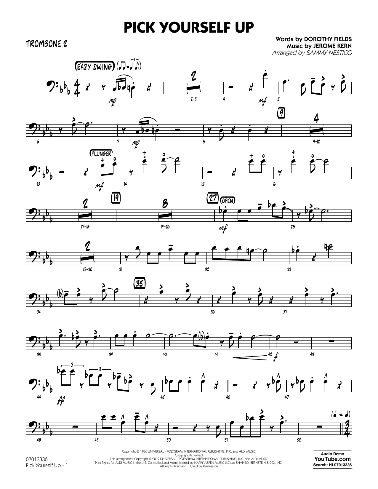 Jerome Kern Pick Yourself Up (arr. Sammy Nestico) - Trombone 2 sheet music preview music notes and score for Jazz Ensemble including 2 page(s)