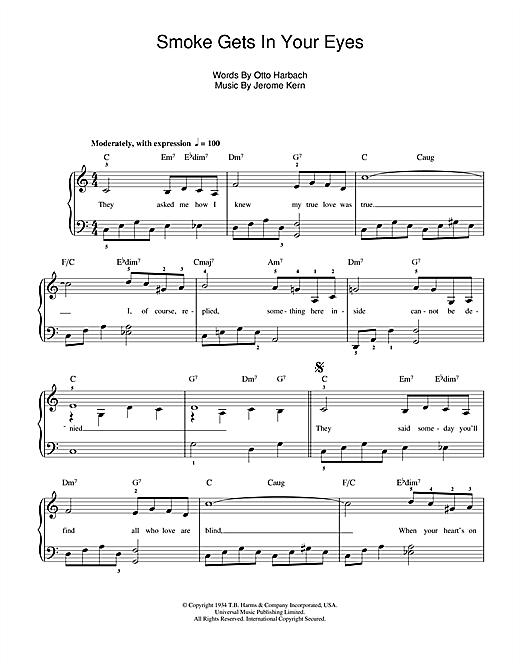 Jerome Kern Smoke Gets In Your Eyes (from 'Roberta') sheet music notes and chords