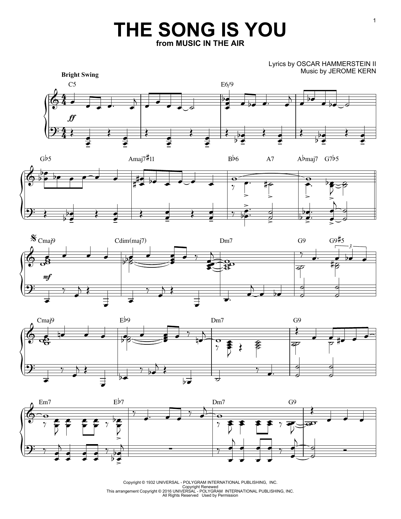 Download Jerome Kern 'The Song Is You' Digital Sheet Music Notes & Chords and start playing in minutes
