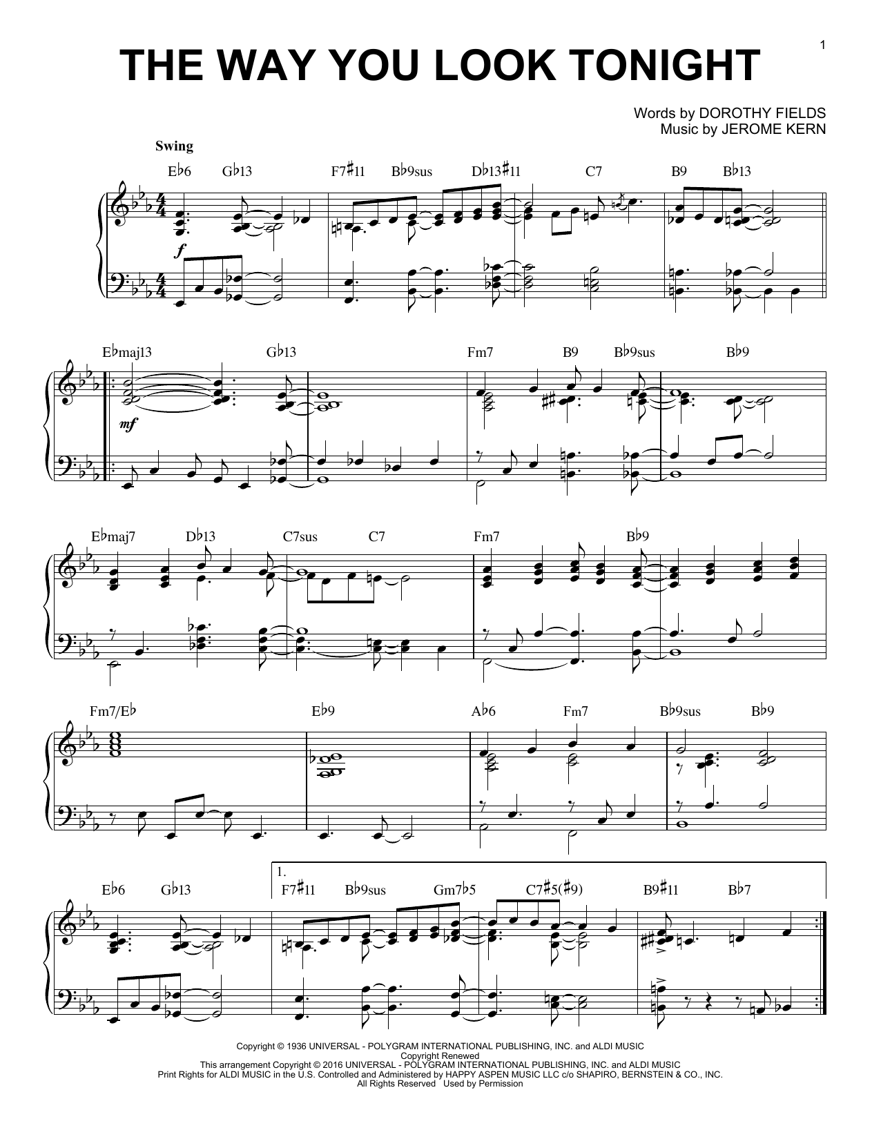 Download Jerome Kern 'The Way You Look Tonight' Digital Sheet Music Notes & Chords and start playing in minutes