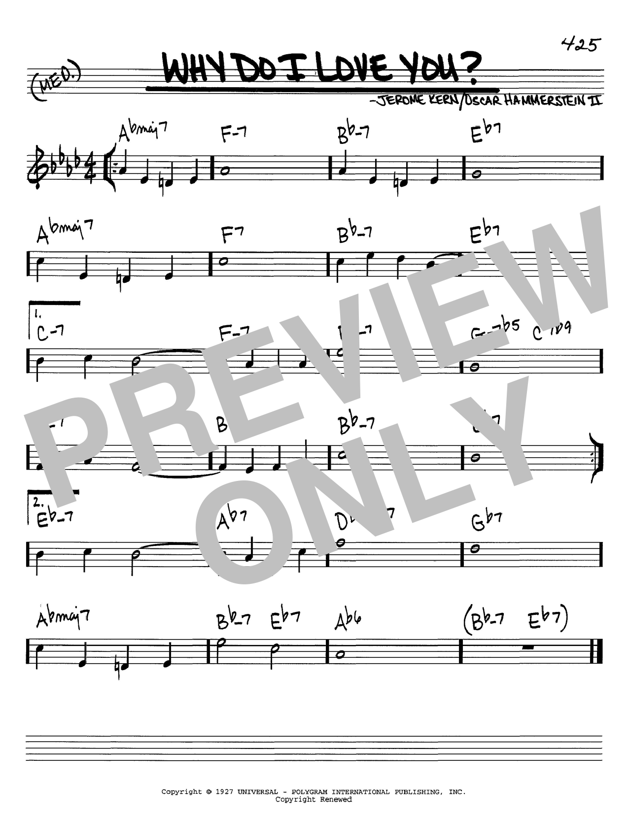 Jerome Kern Why Do I Love You? sheet music preview music notes and score for Piano, Vocal & Guitar (Right-Hand Melody) including 4 page(s)